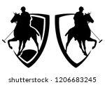 polo player riding a horse  ... | Shutterstock .eps vector #1206683245