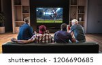 group of fans are watching a... | Shutterstock . vector #1206690685