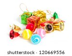Christmas ornaments isolated on white. - stock photo