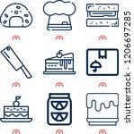 simple set of  9 outline icons... | Shutterstock .eps vector #1206697285