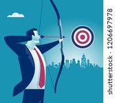 businessman aiming the target.... | Shutterstock .eps vector #1206697978