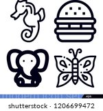 set of 4 animals outline icons...   Shutterstock .eps vector #1206699472