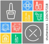 simple set of  10 outline icons ... | Shutterstock .eps vector #1206707218