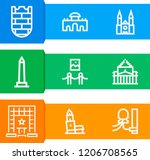 simple set of  9 outline icons... | Shutterstock .eps vector #1206708565