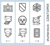 simple set of  9 outline icons... | Shutterstock .eps vector #1206710905