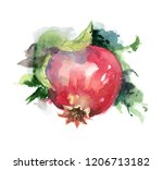 pomegranate watercolor drawing... | Shutterstock . vector #1206713182