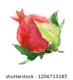 pomegranate watercolor drawing... | Shutterstock . vector #1206713185