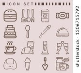 simple set of  16 outline icons ... | Shutterstock .eps vector #1206715792