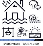 set of 6 nature outline icons... | Shutterstock .eps vector #1206717235