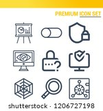 simple set of  9 outline icons... | Shutterstock .eps vector #1206727198