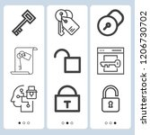 simple set of  9 outline icons... | Shutterstock .eps vector #1206730702