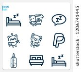 simple set of  9 outline icons... | Shutterstock .eps vector #1206741445