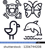 set of 4 animals outline icons...   Shutterstock .eps vector #1206744208