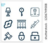 simple set of  9 outline icons... | Shutterstock .eps vector #1206749008