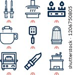 simple set of  9 outline icons... | Shutterstock .eps vector #1206750805