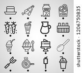 simple set of  16 outline icons ... | Shutterstock .eps vector #1206750835