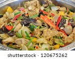 Stir-fried mix colorful vegetables and herb - stock photo