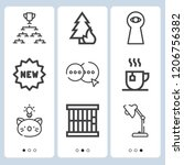 simple set of  9 outline icons... | Shutterstock .eps vector #1206756382