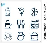 simple set of  9 outline icons... | Shutterstock .eps vector #1206759325