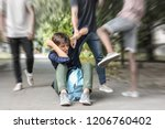 aggressive teenagers bullying... | Shutterstock . vector #1206760402