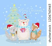 cute animal in winter christmas ...   Shutterstock .eps vector #1206760465
