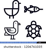 set of 4 animals outline icons...   Shutterstock .eps vector #1206761035