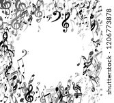 round frame of musical symbols. ... | Shutterstock .eps vector #1206773878
