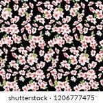 seamless vintage flower pattern ... | Shutterstock . vector #1206777475