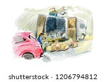 sellers and van with products... | Shutterstock . vector #1206794812