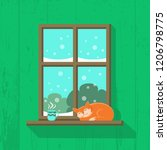 wooden window with snowy... | Shutterstock .eps vector #1206798775
