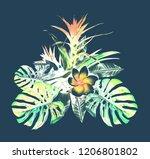 tropical plant. watercolor... | Shutterstock . vector #1206801802