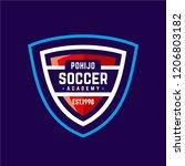soccer academy badge sport logo ... | Shutterstock .eps vector #1206803182