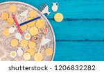 hanukkah dreidels with menorah... | Shutterstock . vector #1206832282