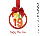 happy new year 2019 round... | Shutterstock .eps vector #1206834862
