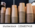 lot of drinking paper coffee... | Shutterstock . vector #1206837418