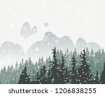 winter snowy landscape with... | Shutterstock .eps vector #1206838255