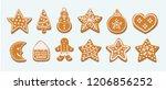 various frosting gingerbread...   Shutterstock .eps vector #1206856252