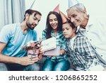 happy family celebrating mother'... | Shutterstock . vector #1206865252