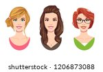 cartoon beautifull young women... | Shutterstock .eps vector #1206873088