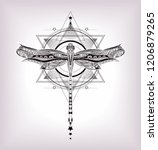 sacred geometry and hand drawn... | Shutterstock .eps vector #1206879265