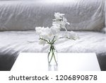branch of white orchid in vase... | Shutterstock . vector #1206890878