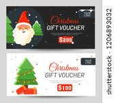 christmas gift voucher with... | Shutterstock .eps vector #1206893032