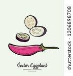 eggplant   hand drawn... | Shutterstock .eps vector #1206898708
