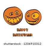 vector two pumpkins with the... | Shutterstock .eps vector #1206910312