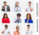 collage of group of young... | Shutterstock . vector #1206910492