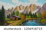 painting with oil paints from a ... | Shutterstock . vector #1206918715
