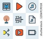 multimedia icons colored line... | Shutterstock . vector #1206919018