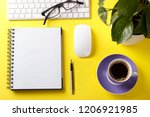 modern office desk table with... | Shutterstock . vector #1206921985
