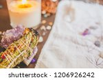 smudge stick with candle and... | Shutterstock . vector #1206926242