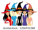 group of women in witch hats on ... | Shutterstock .eps vector #1206931588